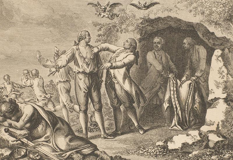 Der Kupferstich des Künstlers Daniel Chodowiecki zeigt im Zentrum des Bildes einen Mann, dem ein anderer gegen seinen Willen sein Hemd auszieht. Der erste verweist mit dem Finger auf die am Boden liegende Göttin der Gerechtigkeit Justitia, die ihre Attribute, die Waage und das Richtschwert, bei Seite gelegt hat. Sie hat ihren Kopf auf die Arme gebettet und sich vom Geschehen abgewandt. Vielleicht weint sie. Über den beiden Männern fliegen zwei Chimären, fledermausartige Wesen mit menschlichen Gesichtern. Die vordere hat weibliche Brüste und einen Drachenschwanz. Einige Männer im linken Bildhintergrund ergreifen die Flucht. Etwas rechts von den beiden Männern stehen zwei weitere Männer, die die Jacke des Mannes in den Händen halten. Einer davon beginnt sie gerade zu zerschneiden.