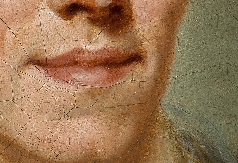 Das Bild zum Thema Gefühl zeigt den Ausschnitt eines Gesichts eines gemalten Porträts. Das Porträt in Gänze stellt Johann Georg Jacobi dar und hängt im Freundshcaftstempel des Gleimhaus – Museum der deutschen Aufklärung in Halberstadt. Man sieht die Mundpartie Jacobis und ein Stück seiner Nase. Der Mund ist zu einem leichten Lächelns verzogen.