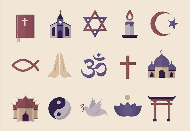 Die Abbildung zeigt verschiedene Symbole, die alle für eine Religion stehen. Man sieht eine Bibel, ein Kreuz, eine christliche Kirche, das frühchristliche Fischsymbol (Ichthys) eine Taube mit einem ölzweig im Schnabel und zwei betende Hände. Daneben finden sich eine Moschee und ein Torii, Stern und Halbmond das Symbol Yin und Yang, eine brennende Kerze, den Davidstern, eine Lotusblüte und einen Tempel.