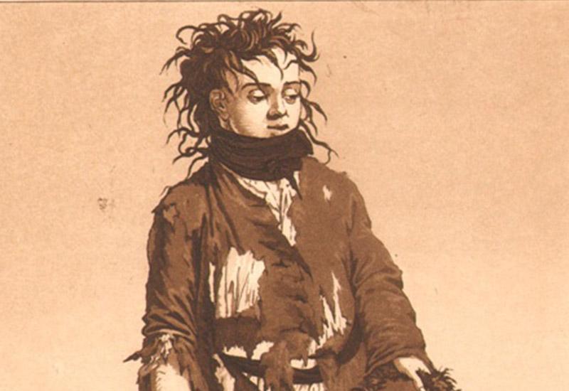 """Ludwig Buchhorns """"Bettlerjunge"""" ist Teil einer um 1800 entstandenen Serie von Variationen über das Thema """"Ein freyes Leben führen wir"""". Es handelt sich hierbei um eine grafische Bearbeitung des Jägerliedes aus dem 4. Akt von Schillers Räuber. Buchhorn warf einen romantisierenden Blick auf Außenseiter der Gesellschaft, seien es nun Räuber oder eben Bettler: Gesetz- oder auch Besitzlosigkeit wird hier mit Freiheit gleichgesetzt. Die Armut war ein weit verbreitetes Übel im 18. Jahrhundert, das allenfalls Ansätze staatlichen Sozialwesens kannte. Eine realistische Darstellung eines solchen Sujets wäre höchst problematisch, hatte doch die Kunst das Gemüt zu erheben und durfte nicht """"in den Rinnstein"""" hinabsteigen, wie noch 100 Jahre später in solchen Fällen getadelt wurde. Das idealisierende Bestreben Buchhorns ist nicht zuletzt an der edlen Miene seines Bettlers zu ersehen. Ludwig Buchhorn wurde um 1770 in Halberstadt geboren und ist in den 1790er Jahren im Umkreis Johann Wilhelm Ludwig Gleims und der Halberstädter """"Literarischen Gesellschaft"""" nachweisbar. Wenig später ging er nach Berlin, wo er es bis zum Professor der preußischen Kunstakademie brachte und 1856 starb. Neben seinem umfangreichen Schaffen als reproduzierender Kupferstecher stach er häufig auch nach eigenen Zeichnungen. Das Gleimhaus bewahrt an größeres Konvolut an Arbeiten Buchhorns."""