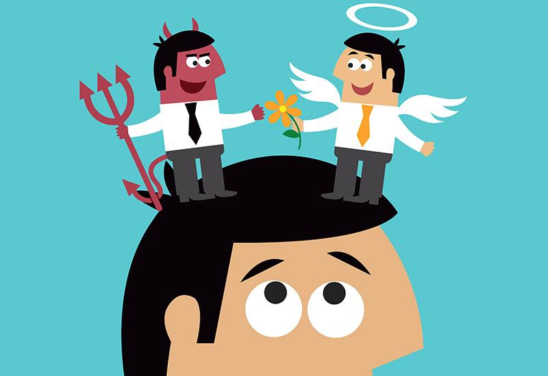Auf dem Kopf eines Mannes, der in Comicmanier gezeichnet ist, stehen sich ein Engel und ein Teufel gegenüber. Beide sehen aus, wie der Mann auf dessen Kopf sie stehen. Der Teufel hat ein rotes Gesicht, trägt einen schwarzen Schlips und hält einen Dreizack in der Hand, der Engel dagegen eine Blume. Über seinem Kopf schwebt eine Auriole, ein weißer Kreis, der einen Heiligenschein darstellen soll.