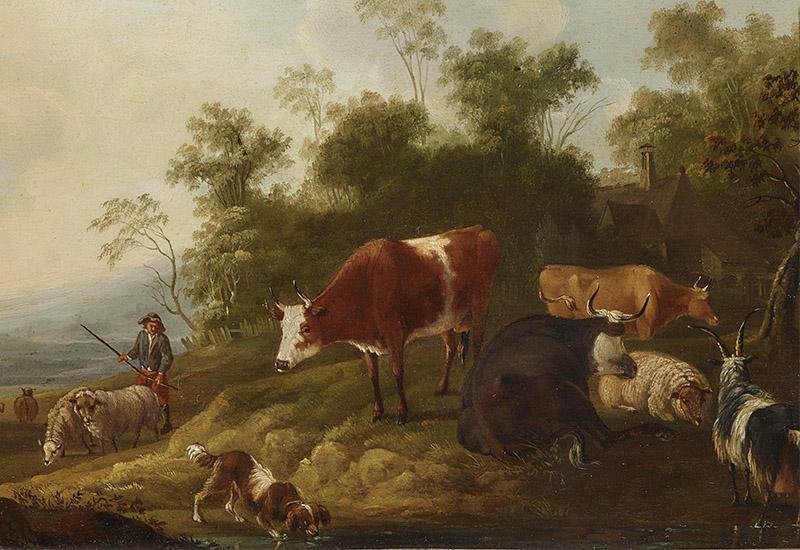 In Weitschs Schaffen waren Natur, vornehmlich die ihn umgebende Landschaft, und Kunst, die Landschaftsmalerei vornehmlich der Alten Meister, als Inspiration von etwa demselben Gewicht. Namentlich waren es die Maler des Holländischen Goldenen Zeitalters, auf die er sich in seinen Briefen vielfach berief. Waren es in den späteren Jahrzehnten seines Malerlebens die großen Realisten, allen voran Jacob van Ruisdael mit seiner heroischen Landschaftsauffassung, die ihm Orientierung boten, so waren in seiner Frühzeit vor allem die sogenannten 'Holländischen Italianisanten' mit ihrer idyllisch gestimmten Landschaftskunst von prägendem Einfluss auf Weitsch. Hirten mit ihrem Vieh sind die weiteren wesentlichen Elemente des Bildtyps der Holländischen Italianisanten und so auch in einem beträchtlichen Teil des Schaffens Weitschs. Der ideale Beruf in Literatur und Bildender Kunst ist derjenige des Hirten. Dieser verkörpert das anspruchs- und damit sorglose, fried- und musevolle Leben, frei von gesellschaftlichen Zwängen. Diese idyllische Utopie erhielt bereits in der Antike nach einem kargen Landstrich, der mythischen Heimat Pans auf der griechischen Insel Peloponnes, den Namen: Arkadien. Diese Vision über den Naturzustand des Menschen und ein Leben in Glückseligkeit war im 18. Jahrhundert aktuell wie selten zuvor. Auch Gleims Dichtung etwa war vielfach in diesem mythischen Arkadien angesiedelt. In Weitschs pastoralen Idyllen, in denen die Staffage häufig eine tragende Rolle einnimmt, bewegen sich indes keine überzeitlichen Hirten, sondern einheimisches Landvolk der Entstehungszeit. Von Anfang an und mit zunehmender Konsequenz zeigt der Maler hier zeitgenössisches Landleben, wiewohl manche anekdotenhafte Szene, etwa eine melkende Viehhirtin oder ein saufender Hund auf ganz ähnliche Weise auch bei den Holländischen Italianisanten und eben bei Berchem vorkommen.