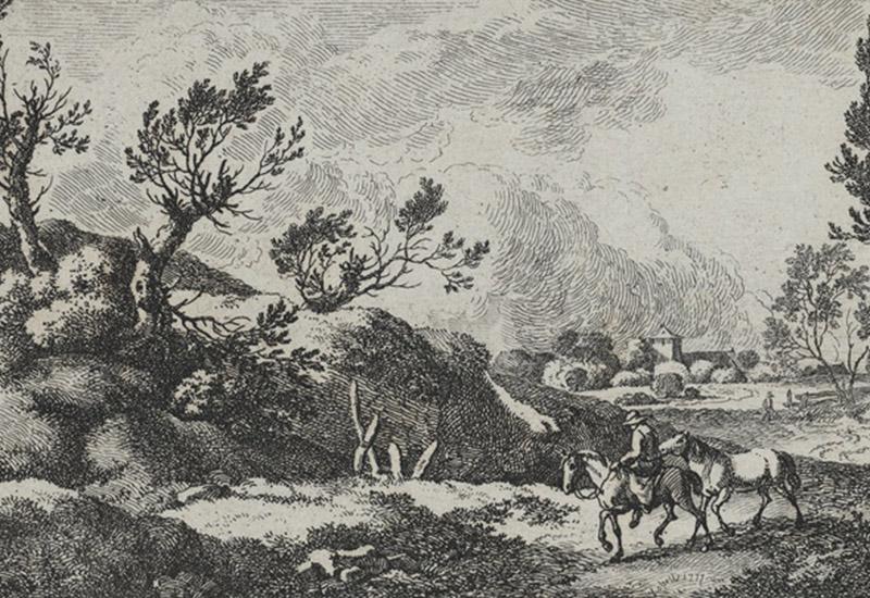 Ferdinand Kobell: Buschige Hügellandschaft mit zwei Pferden, 18. Jh., Radierung, 7,8 x 17 cm, Kulturstiftung Sachsen-Anhalt - Kunstmuseum Moritzburg Halle (Saale), Foto: Kulturstiftung Sachsen-Anhalt.