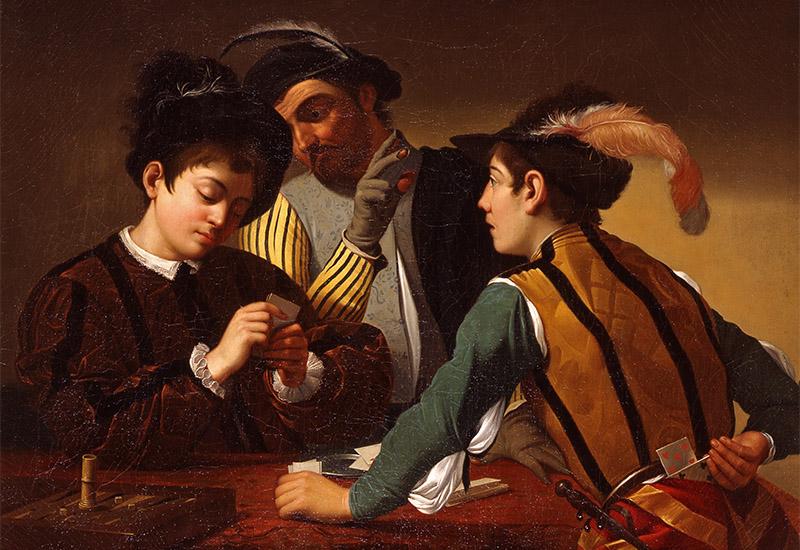 Das Bild zeigt drei Männer beim Kartenspielen an einem Tisch, wobei einer, durch Zeichen seines Gegenübers informiert, hinter seinem Rücken eine Falschkarte hervorzieht. Auf dem mit einem roten Tuch bedeckten Tisch steht links noch ein Trick-Track-Spiel mit einem Würfelbecher. Bei dem Bild handelt es sich um eine Kopie nach Caravaggios Original von 1594, ehem. Palazzo Borghese, heute im Kimbell Art Museum, Texas. Das Gemälde gehört zu einer Reihe von Gemälden, die von Anton von Maron im Auftrag des Fürsten kopiert wurden und wurde neben ursprünglich acht Bildern, u.a. Raffaelkopien sowie Gemälden des zeitgenössischen Malers Ferdinand Hartmann für das Kabinett neben dem Festsaal im Luisium ausgewählt. (KSDW)