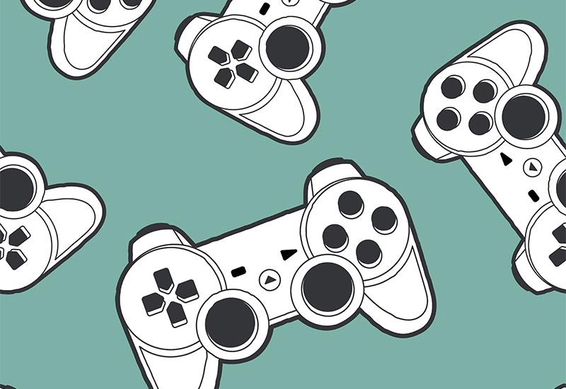 Vor einem graugrüntürkisen Hintergrund schweben mehrere ganz oder teilweise abgebildete, graphisch typisierte Controler einer Spielkonsole in schwarz-weiß.