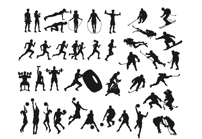 Es gibt so viele Sportarten. Hier sind zahlreiche als Silhouetten abgebildet. Silhouettieren war ein geselliger Zeitvertreib der Menschen in der Zeit der Aufklärung.
