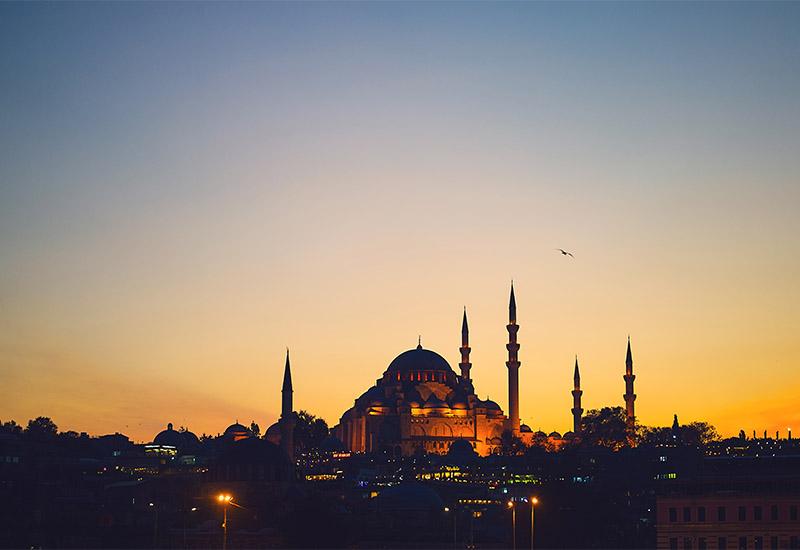 Abend- oder Morgenstimmung in Istanbul. Die Sonne färbt den Hügel auf dem sich die Moschee mit ihren 5 Minaretten befindet in goldgelbes Licht. Die Ruhe und Weite des Abend- bzw Morgenhimmels wird konterkariert durch die Dichte an Lichtern, die aus dem Dunkel am Fuße des Moscheehügels heraus leuchten. Eine einzelne Möwe, die sich dunkel gegen den helleren Hintergrund abzeichnet verbindet die Weite des Himmels mit dem Gedränge am Boden, da sie von beidem ein Teil ist.
