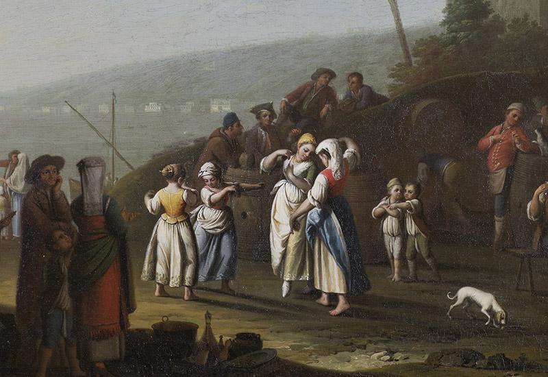 Blick aus einer Grotte auf den Golf von Neapel. In und vor der Grotte vergnügt sich eine zahlreiche Volksmenge mit Essen und Tanzen. Im Hintergund steht auf einem Felsen eine Haus. Repliken des Bildes befinden sich in Windsor Castle und in einer neapolitanischen Privatsammlung. (KSDW)