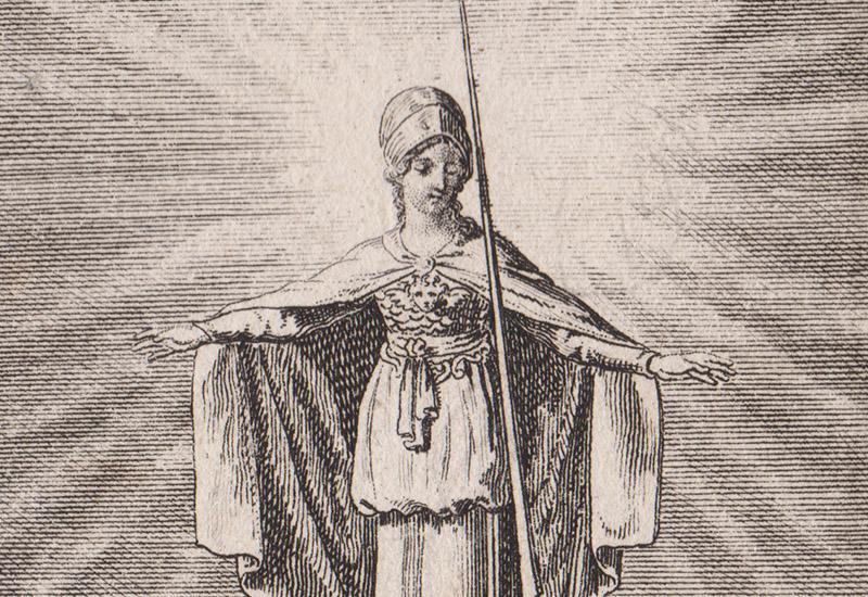 """Auf dem Kupferstich von Daniel Chodowiecki sieht man eine Frau mit einem Helm und einer Lanze, die oberhalb von einigen Männern steht und über deren Köpfen ihre Arme ausbreitet. Vielleicht so, als ob sie sie segnet oder beschützt. Bei ihr handelt es sich um die Göttin Minerva, die unter anderem auch für Weisheit und Wissen zuständig war. Die Männer darunter gehören verschiedenen Religionen an. Man erkennt einen Mönch mit einem Kreuz in der Hand, eine Juden mit einer Tora-Rolle und einen Moslem, sowie einen protestantischen Geistlichen mit Talar und Halskrause. Die Unterschrift des Bildes auf dem Original lautet """"Toleranz"""". Es stammt aus dem Göttinger Taschenkalender von 1792."""