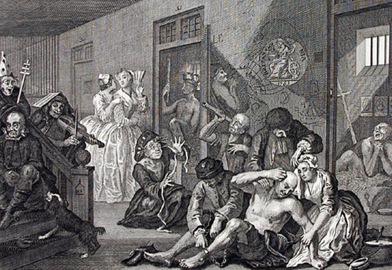 """u.r.: Pl. 8 U.l.: W. Hogarth inv.&pinx. Rieph. del. sculp.  Das Bild stammt von dem sozialkritischen britischen Maler und Grafiker William Hogarth (1697-1764). Er gilt als Vorläufer der modernen Karikaturisten und ist einer der bedeutendsten Maler des 18. Jh.. Das Bild ist das Letzte des achtteiligen Bilderzyklus """"A Rake's Progress"""", der den Untergang und Fall des Tom Rakewell beschreibt. Letztendlich wahnsinnig geworden befindet sich Tom am Ende in der londoner Irrenanstalt Bethlehem Hospital. Er sitzt rechst im Bild am Boden. Er hat Ketten an den Füßen, zwei Pfleger und seine ehemalige Verlobte kümmern sich um ihn, er scheint ihnen aber keine Beachtung zu schenken. Links im Bild ist der Anfang einer Treppe zu sehen. Ein Insasse sitzt darauf, während vier weitere im Flur Kunststücke aufführen. Zwei gut gekleidete junge Frauen schlendern durch den Korridor und werfen einen Blick in eine Zelle. Hinter Tom steht ebenfalls eine Zellentür offen und erlaubt den Blick auf einen verstört wirkenden Patienten."""